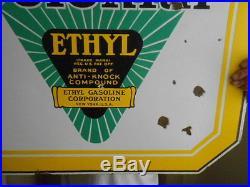 Vintage Sign Original Colonial Ethyl Gasoline Double Sided Porcelain Gas Oil