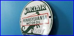 Vintage Sinclair Gasoline Porcelain 6 Motor Oil Service Dino Station Pump Sign