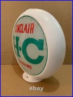 Vintage Sinclair H-C Gas Pump Globe Light Glass Lens Service Station Garage Oil