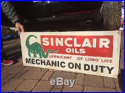 Vintage Sinclair Oil Mechanic on Duty Gasoline Metal Sign Gas With Dino 41X16in