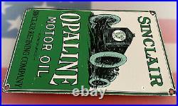 Vintage Sinclair Opaline Motor Oil Porcelain Sign Rare Rectangle Version Gas