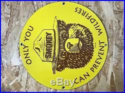 Vintage Smokey Bear Porcelain Sign Gasoline Gas Oil Service Station Pump Plate