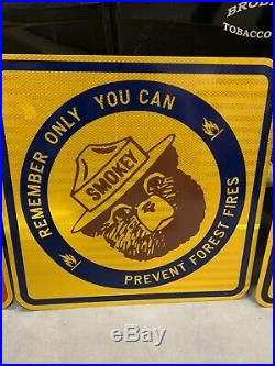 Vintage Smokey The Bear Metal Reflective Sign GAS OIL SODA COLA NOS 18 x 18