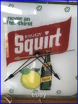 Vintage Squirt Soda Lighted Pam Clock Gas Oil Advertising Original Not Working