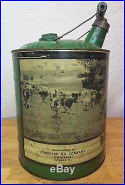 Vintage Standard Oil Bovinol Can Cow Bug Spray 5 Ga Farm Advertising Wood Handle