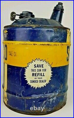 Vintage Sunoco Mercury Made Motor Oil 5 Gallon Metal Can Container Advertisement