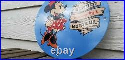 Vintage Sunoco Motor Oil Porcelain Minnie Mickey Mouse Walt Disney Gas Pump Sign