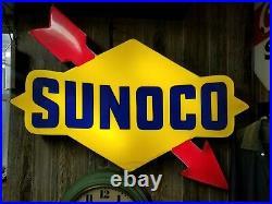 Vintage Sunoco Oil Gas Station Sign light up 4ft