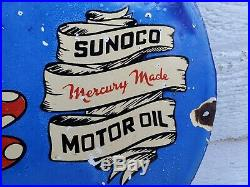 Vintage Sunoco Porcelain Sign Minnie Mouse Disney Mickey Donald Gas Oil