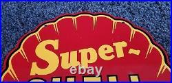 Vintage Super Shell Gasoline Red Metal Gas Oil Service Station Pump Plate Sign