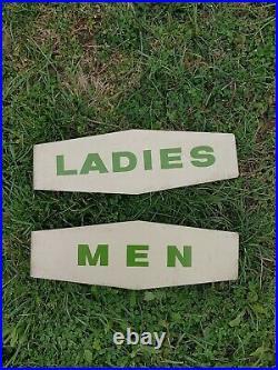 Vintage TEXACO SERVICE STATION MEN LADIES RESTROOM FLANGE SIGNS Gas Oil Sign