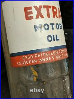 Vintage Tall Esso Extra Motor Car Engine Oil Bottle very good condition