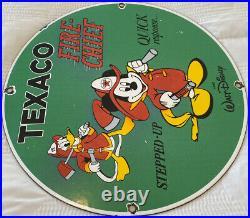 Vintage Texaco Fire-chief Gasoline Porcelain Sign Disney Mickey Donald Duck Oil