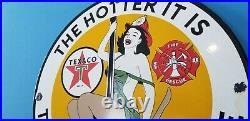 Vintage Texaco Gasoline Porcelain Fire Chief Rescue Gas Motor Oil Service Sign