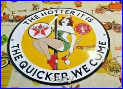 Vintage Texaco Gasoline Porcelain Fire Fighter Chief Gas Oil Service 12 Ad Sign