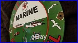Vintage Texaco Gasoline Porcelain Gas Oil Marina Service Station Pump Plate Sign