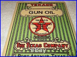 Vintage Texaco Gun Oil Port Arthur Texas U. S. A. 7 Porcelain Metal Gasoline Sign