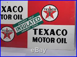 Vintage Texaco Insulated Motor Oil Enamel Gas Station Two Sided Sign, MINT, 1948