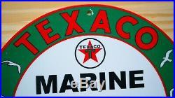 Vintage Texaco Marine Porcelain Sign Nautical Gas Oil Pump Plate Service Station