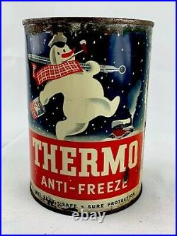 Vintage Thermo Anti-Freeze One Quart Motor Oil Can Metal 1940S Gas Station H/o
