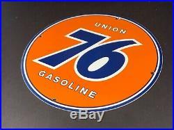 Vintage Union 76 Gas 11 3/4 Porcelain Metal Gasoline & Oil Sign! Pump Plate