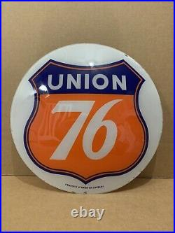 Vintage Union 76 Gas Pump Globe Light Glass Lens Service Station Garage Oil Sign