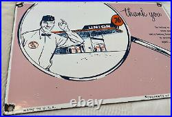 Vintage Union 76 Gasoline Porcelain Sign Gas Station Motor Oil Pump Service