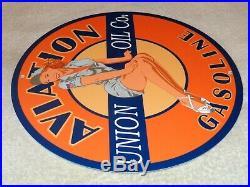 Vintage Union Oil Aviation Gasoline Pin Up Model 11 3/4 Porcelain Metal Sign