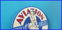 Vintage Union Oil Co Porcelain Gas Service Station Aviation Gasoline Pump Sign