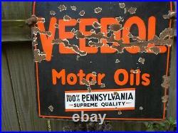 Vintage VEEDOL Motor Oil GAS STATION SIGN 2 Sided Porcelain 28, 1930s