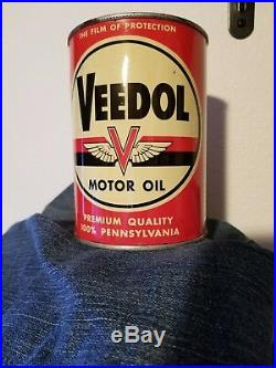 Vintage Veedol Rare Motor Oil Quart Can metal original Gas sign car old flying A