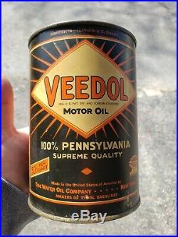 Vintage Veedol Starburst Pricer Quart Oil Can 30 Cent Tide Water Oil Company