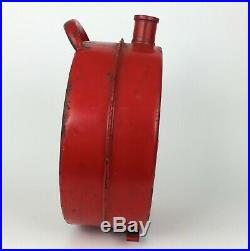 Vintage Volvo Gas Jerry Can Embossed Red Metal Restore Logo Automotive Oil Fuel