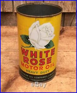 Vintage WHITE ROSE Heavy Duty MOTOR OIL 1 Qt Tin Can Sign Canadian Oil Sign