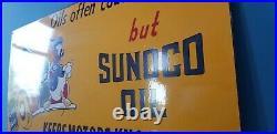 Vintage Walt Disney Porcelain Mickey Mouse Sunoco Gasoline Motor Oil Pump Sign