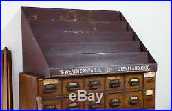 Vintage Weatherhead Hardware Store Display Shelf Oil Cans parts cabinet tools