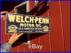 Vintage Welch Penn Motor Oil Gasoline Metal Sign 24X9 Gas Oil Service Station