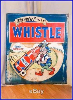 Vintage Whistle Orange Soda Metal Sign 30 x 26 Elf Gnome RARE No BARN! GAS OIL
