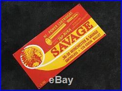 Vintage Winchester Savage Ammo Porcelain Sign Gun Powder Gas Oil Pump Plate Rare