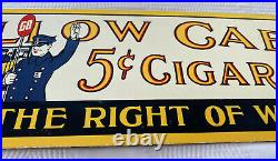 Vintage Yellow Cab 5¢ Cigar Porcelain Sign Tobacco Humidor Pipe Cohiba Gas Oil