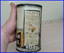 Vintage advertising red indian motor oil can canadian quarts sign gas