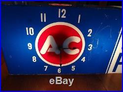 Vintage c. 1960 AC Spark Plugs Box Gas Oil 2 Sided 24 Lighted Clock SignWorks