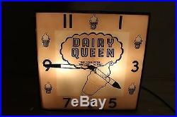 Vintage c. 1960 Dairy Queen Ice Cream Restaurant Gas Oil 15 Lighted Clock Sign
