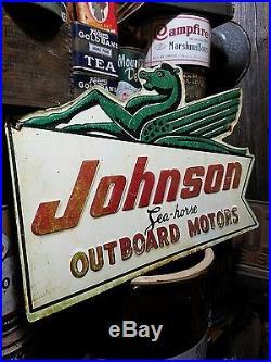 Vintage old johnson outboard motor sign gas oil garage for Johnson marine italia