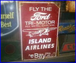 Vintage old ford airplane motor porcelain sign motor gas oil garage rare