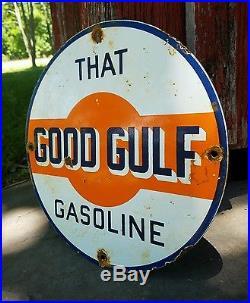 Vintage old porcelain gulf gas station service station oil garage pump sign rare