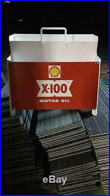 Vintage servo Oil Bottle Rack/Stand and its original SHELL OIL SIGN attached