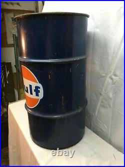 Vtg 16 gallon oil gas drum can GULF OIL Motor Oil Grease Garage Trash Can