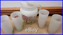Vtg 1950's Blakely Oil & Gas Arizona Cacti Pitcher & 4 Glasses Frosted Glass