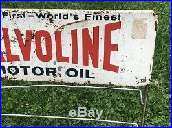 Vtg 1960s Valvoline Motor Oil 12 Quart Oil Can Display Rack Gas Oil Station 26